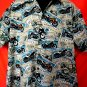 David Casey Hawaiian Camp Shirt Size XL Motorcycle Touring Postcards