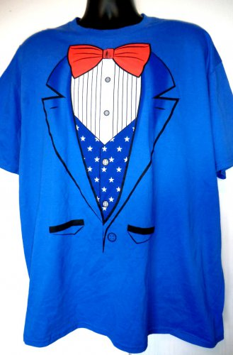 Red White and Blue Suit Bow Tie T-Shirt Size XXL