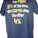 Funny I'm Right 97% of the Time Who cares about the other 4% T-Shirt Size Medium