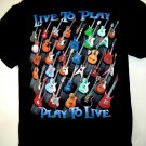 Love Guitars?! Live to Play ~~ Play to Live T-Shirt Size Large