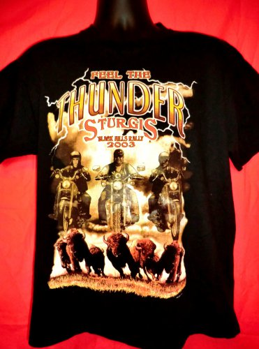 Sturgis 2003 Black Hills Rally T-Shirt Size Medium Feel the Thunder Motorcycle