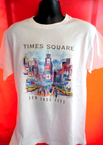 Vintage TIMES SQUARE White Medium T-Shirt Manhattan NY NYC New York City