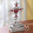 Pewter Cross Jewelry Box - beautifully detailed.