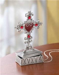 Pewter Cross Jewelry Box - beautifully detailed.