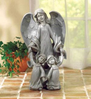 Angel with Two Kids Statue - a motherly, loving angel.  LOW SHIPPING!!