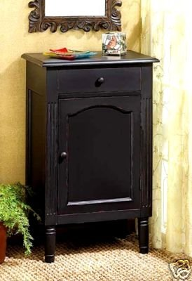 Antiqued Black Wood Cabinet - Antique Look - Wood Cabinet