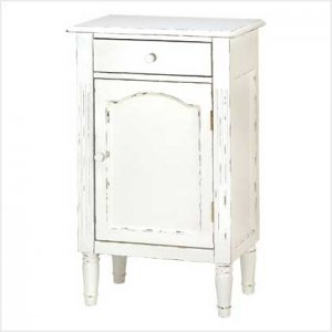 Graceful White Antiqued Cabinet - nightstand, hall cabinet, bathroom cabinet.