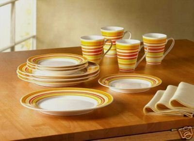 "24-piece ""STRIPES OF SUMMER"" Dinnerware Set - Bone China Dinnerware Set"