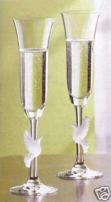 Gorham Crystal - Amore Dove Flutes - Gorham Crystal Flutes