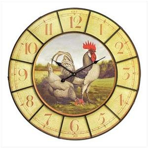 Oversized Rooster Clock - Rooster Wall Clock - Country Decor