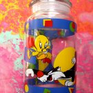 Rare  Looney Tunes TAZ & TWEETY BIRD & SYLVESTER Glass Candy Jar Warner Bros 1995 Never used!