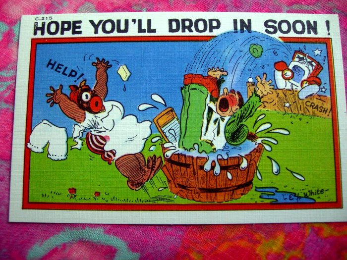 Vintage DROP IN SOON Linen Postcard