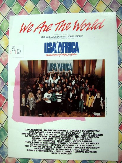 We Are The World USA AFRICA Sheet Music Michael Jackson