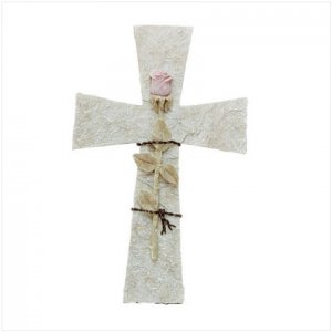 Cross Wall Plaque with Rose