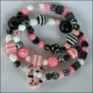 Pink & Black Licorice Bead Necklace