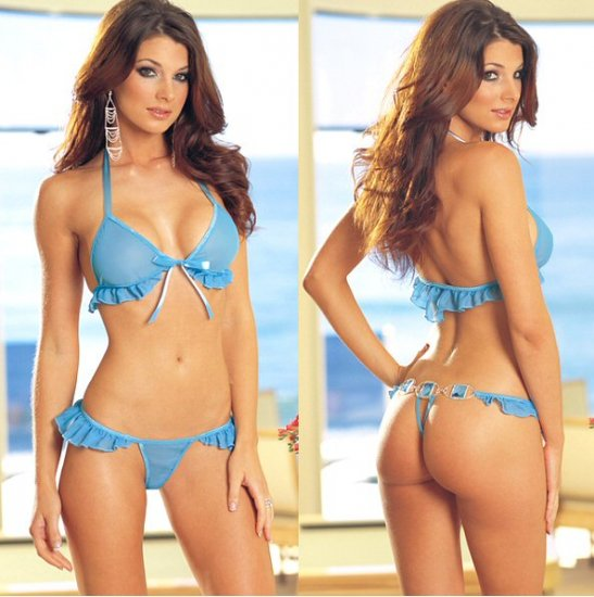 NEW 2 Piece Front Tie Bra Set with Ruffled Trim and Rear Acrylic Gem Accents