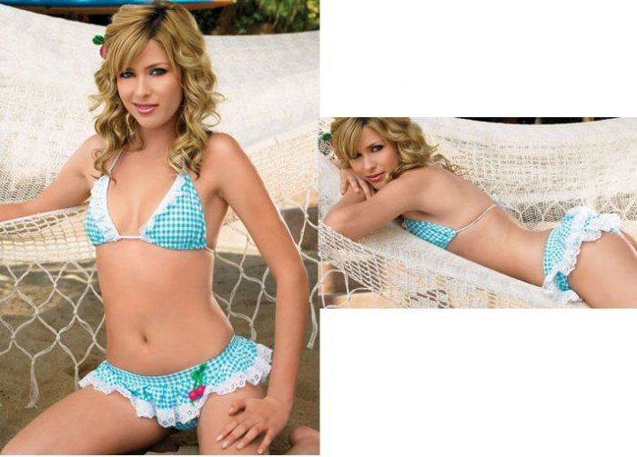 NEW Gingham Print Bikini with Eyelette Ruffle Trim and Cherry Bead Accent