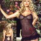 NEW 2 Piece Dotted Mesh Chemise with Glitter Bow Applique