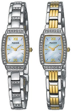 NEW Pulsar PEG885 Ladie's Watch Two Tone Braceletwith Swarovski Crystals