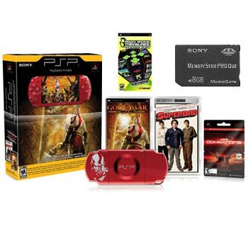 """NEW PlayStation PSP Limited Edition """"8GB Red"""" God of War Entertainment Pack with 21 Games and more"""