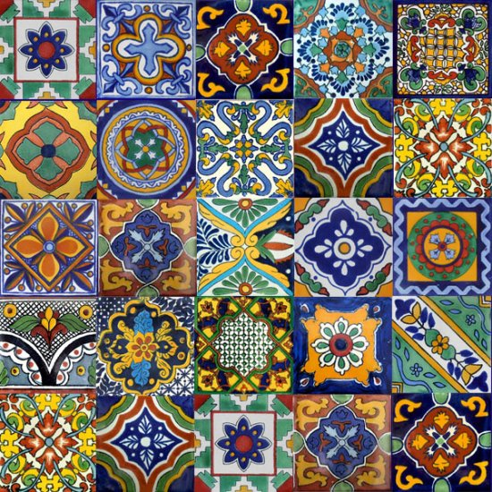 """160 Mexican 4""""x 4"""" Accent Clay Tile MIX"""