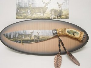 Deer Knife Hand Painted w/ Plaque KS-5802DR Free Shipping