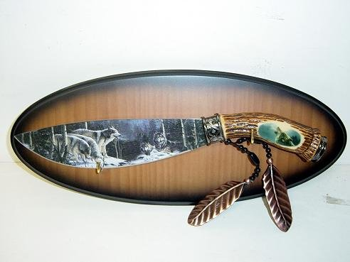 Wolf Knife Hand Painted Blade w/ Plaque KS-5802W Free Shipping