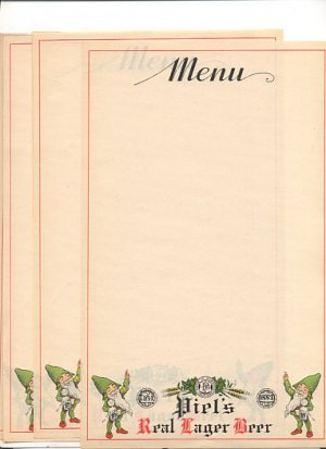 4 Piel's Real Lager Beer Menu Sheets 1930's