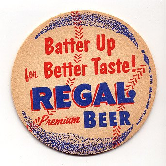 1940's Regal Beer Baseball Coaster Miami FL