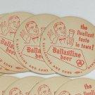 10 Ballantine Beer Coasters vintage 1950's