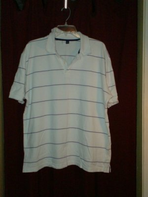 Marfinno Polo Shirt, White w/ Navy Stripes, Size Large