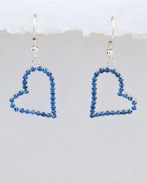 Sapphire Rhinestone Heart Earrings