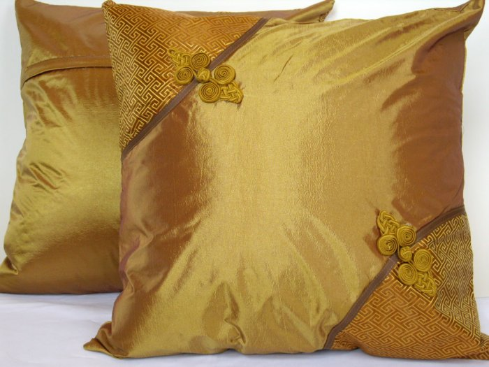 "Asian Buttons Pillow Cushion Cover 19"" Dark Gold"