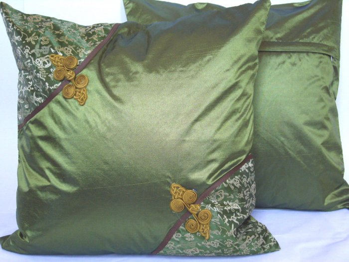 """Asian Buttons Pillow Cushion Cover 19"""" Olive Green"""