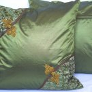 "Asian Buttons Pillow Cushion Cover 19"" Olive Green"