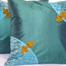 "Asian Buttons Pillow Cushion Cover 19"" Teal"