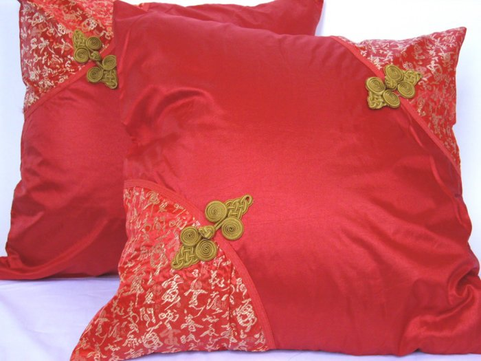 """Asian Buttons PillowCushion Cover 19"""" Red"""