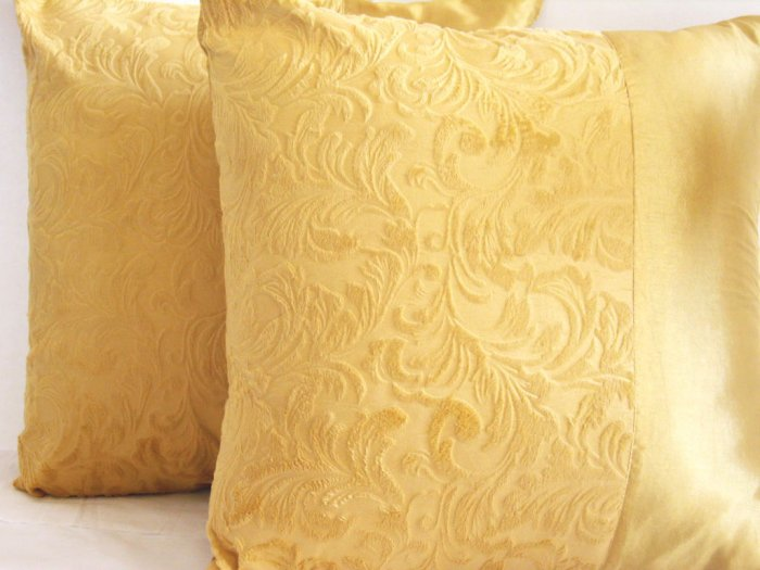 """Duo Toile Pillow Cushion Cover 20"""" Gold"""