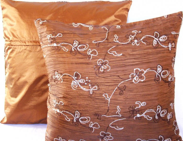 """Beaded Sequins Sofa Pillow Cushion Covers 24"""" Brown"""