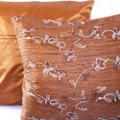 "Beaded Sequins Sofa Pillow Cushion Covers 24"" Brown"