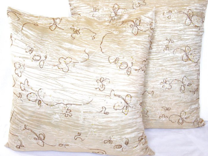 """Beaded Sequins Sofa Pillow Cushion Covers 24"""" Ivory"""