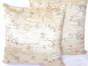 "Beaded Sequins Sofa Pillow Cushion Covers 24"" Ivory"