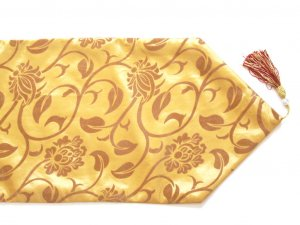 "Floral Leaves Table Runner 71"" Gold"