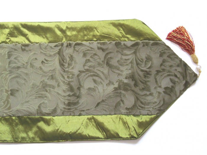 Velvet-Like Floral Leaves Table Runner Olive Green