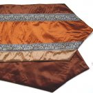 "Trio-Stripe w/ Trim Table Runner 71"" Copper/Bronze/Brown"