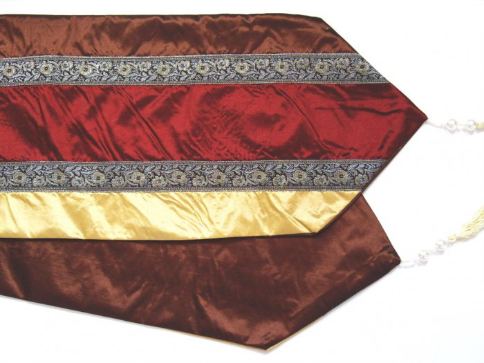 "Trio-Stripe w/ trim Table Runner 71"" Gold/Burgundy/Brown"