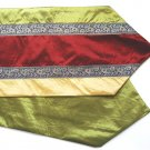 "Trio-Stripe w/ trim Table Runner 71"" Gold/Burgundy/Green"