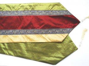 "Trio-Stripe w/ trim Table Runner 71"" Gold/Burgundy/Green"