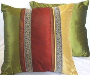 "Trio Stripe w/ Trim Cushion Cover 20"" Gold/Burgundy/Green"
