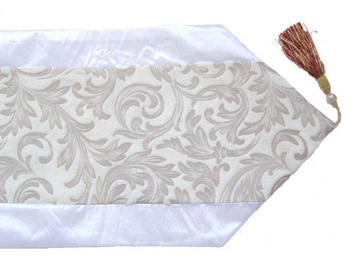 Velvet-Like Floral Leaves Table Runner Crystal White